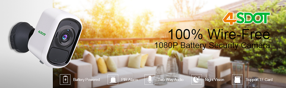 4SDOT 100% Wire-Free 1080P Battery Security Camera