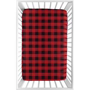 Woodland Buffalo Plaid Boy Fitted Mini Crib Sheet Baby Nursery For Portable Crib or Pack and Play