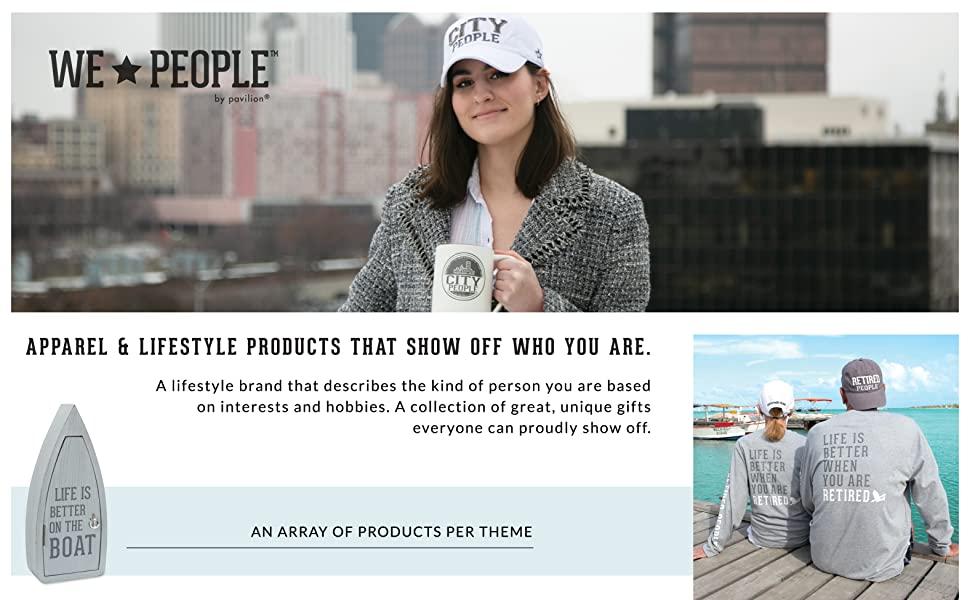 we people; pavilion; hats; key boxes; t-shirts; sweatshirts; mug; adult; baby; girl; boy