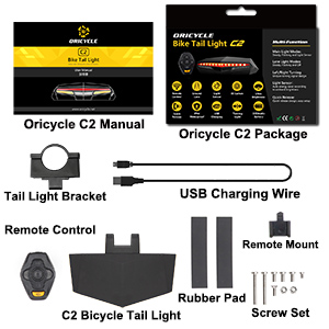 Remote Control Turning Lights Safety Warning Light 30 Hours Battery Life Oricycle C2 Rechargeable Bike Tail Light LED IPX4 Waterproof Ground Virtual Lane Ultra Brightness