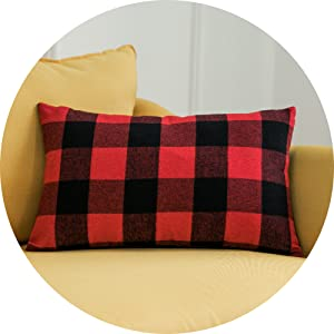 12x20 red and black checkered decorative throw pillow cover cases with zipper Scotland tartan check