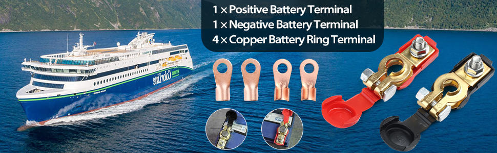 Corrosion Resistant 4 Pcs Wire Lugs Battery Terminal Ends for Car Boat Truck LotFancy 2 Pcs Battery Terminals Positive /& Negative Car Battery Cable Terminal Clamps Connectors with Plastic Cover