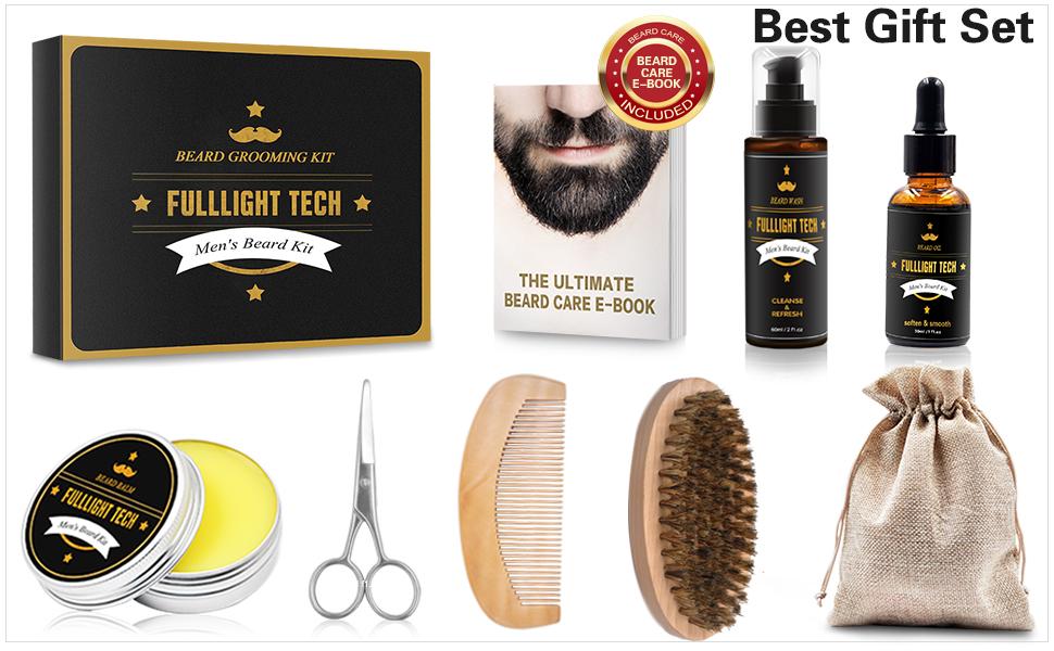 complete beard grooming kit with shampoo oil balm comb brush scissors beard shaping tool barbe penci