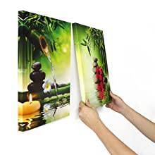 orchid wall art, bamboo wall art, spa wall decor for home walls, 3 panel wall art