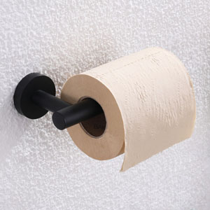 Left view of tp holder with toilet paper