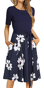Splice Floral Short Sleeve Midi Flowy Dress Work Casual Pockets Empire Hight Waist Dress with Belt…
