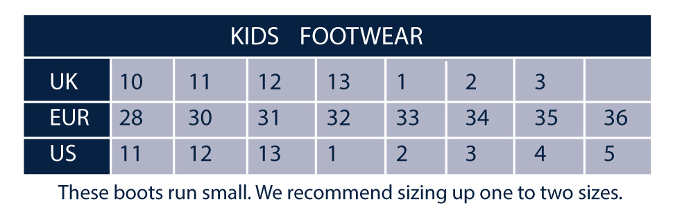 A Size chart for Shires children's footwear