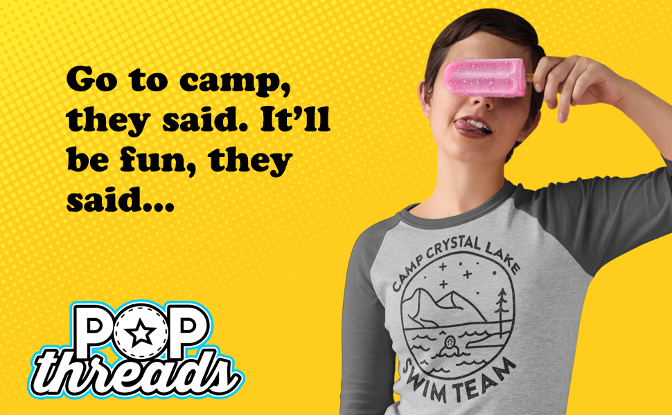 Camp Crystal Lake Counselor Horror Movie Vintage Raglan Baseball Tee Shirt