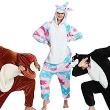 costume cosplay party funny animal pajamas onesie unicorn puppy dog deer one piece pajama
