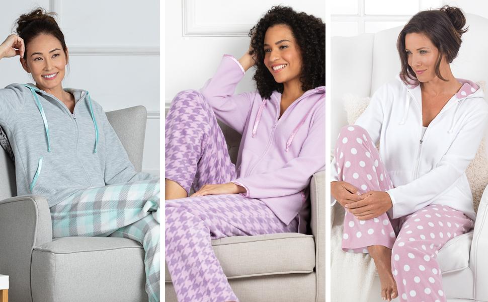 three women in pajamas