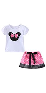 girls cartoon skirt set