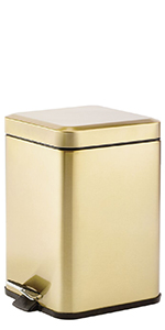 Decorative Metal Square Small Trash Can Wastebasket, Garbage Container Bin