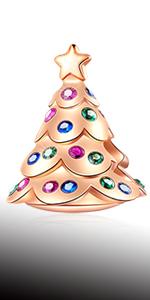 925 Sterling Silver Rose Gold Festive Christmas Tree Charms fits Pandora Charm Xmas Bracelet