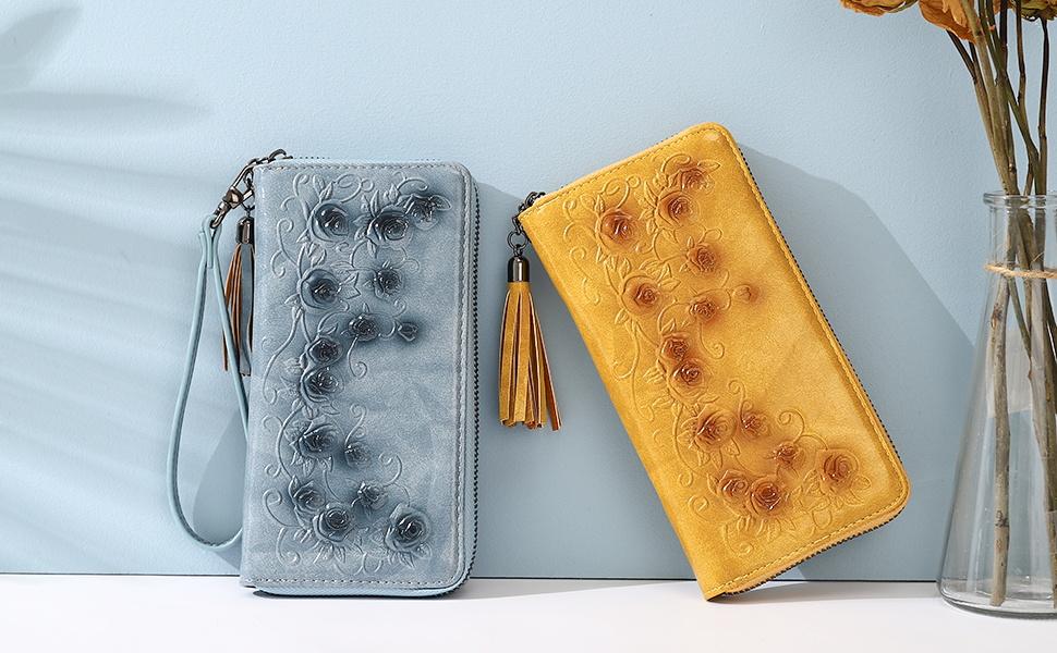 brown wallets for women rfid blocking wristlet women brown leather women wristlet wallet