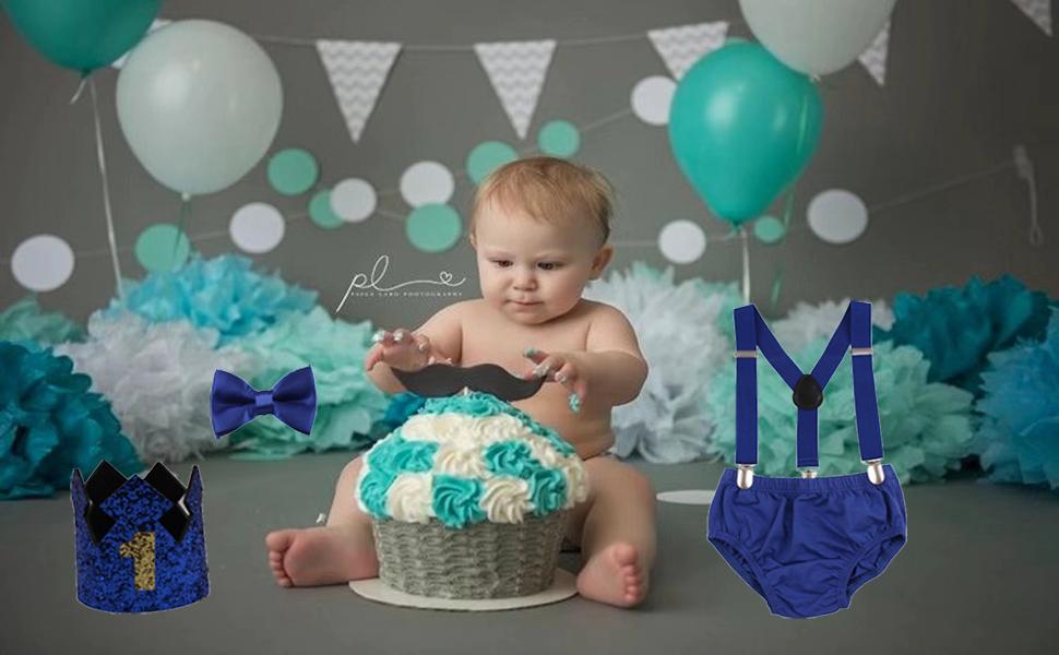 suspenders bowtie first birthday