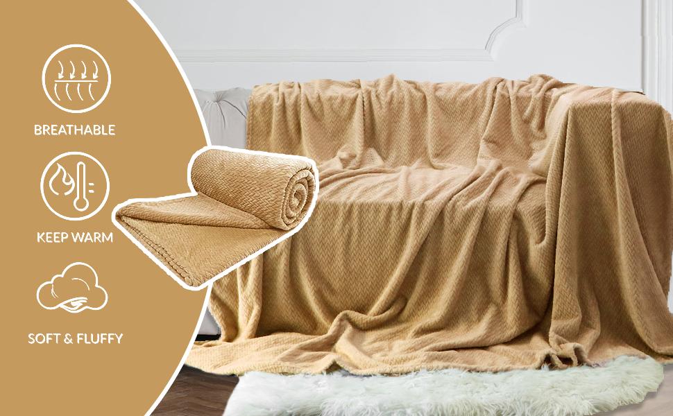 Super Soft Throw Blanket Premium Silky Flannel Fleece Leaves Pattern Throw…