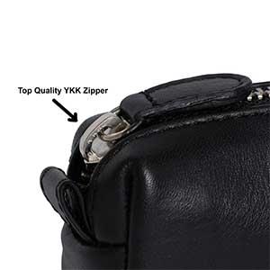 diloro zippered leather pen pencil case pouch close up zipper