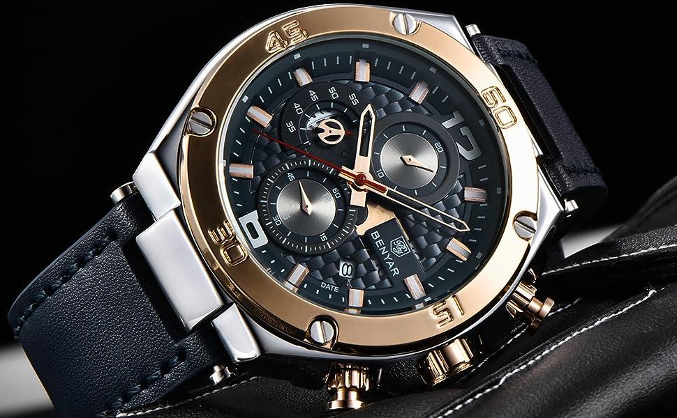 benyar watch men blue rose gold
