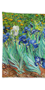 Van Gogh Tapestry Wall Hanging, Irises Nature Plant Floral Art Rustic Wall Home Decor for Living