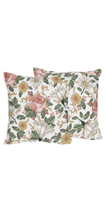 Vintage Floral Boho Decorative Accent Throw Pillows - Set of 2 - Blush Pink, Yellow, Green and White