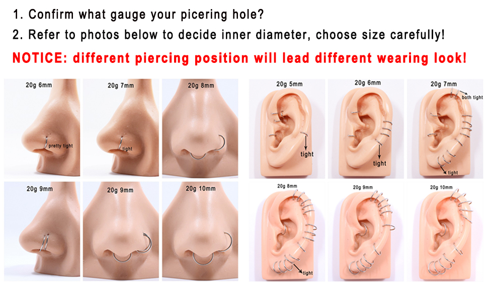 AROWRO 20G 18G 16G 14G 12G 10G 316L Surgical Steel Hinged Segment Ring Hoop Nose Septum Clicker Helix Daith Rook Conch Tragus Piercing Jewelry Cartilage Earring Piercing Jewelry 5Pcs