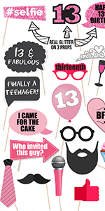 13th Birthday photo props funny 13th birthday party supplies finally teen for her for girls birthday