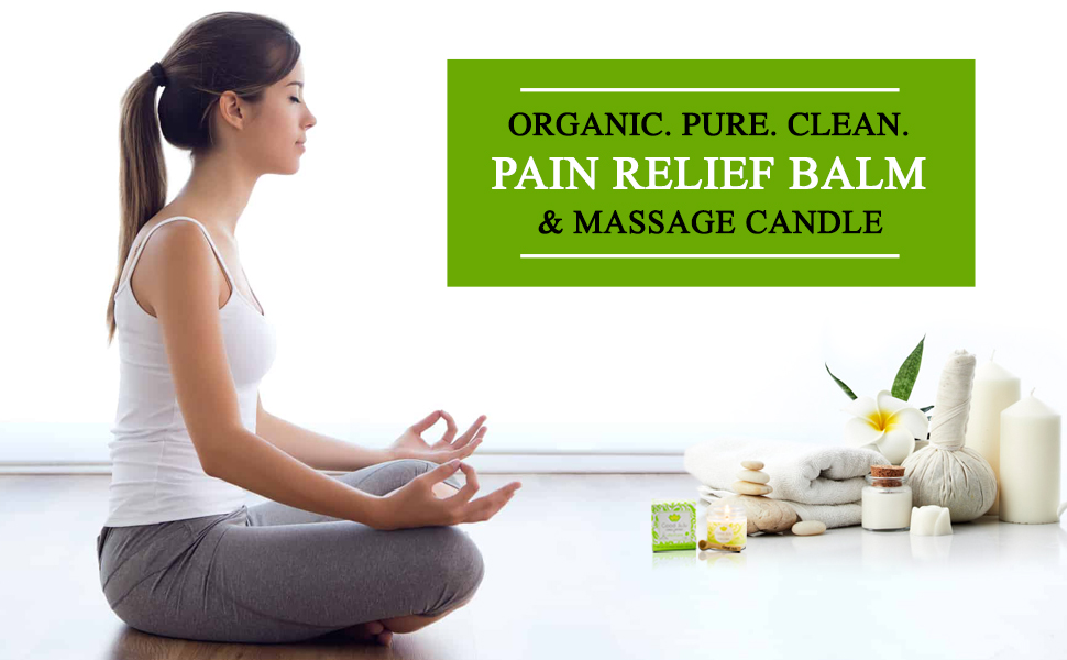 Organic, pure and clean massage candle and relief balm