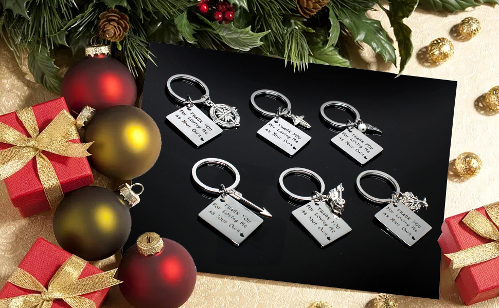 Keychain for Family, Stainless Steel Keyring as Christmas Gift