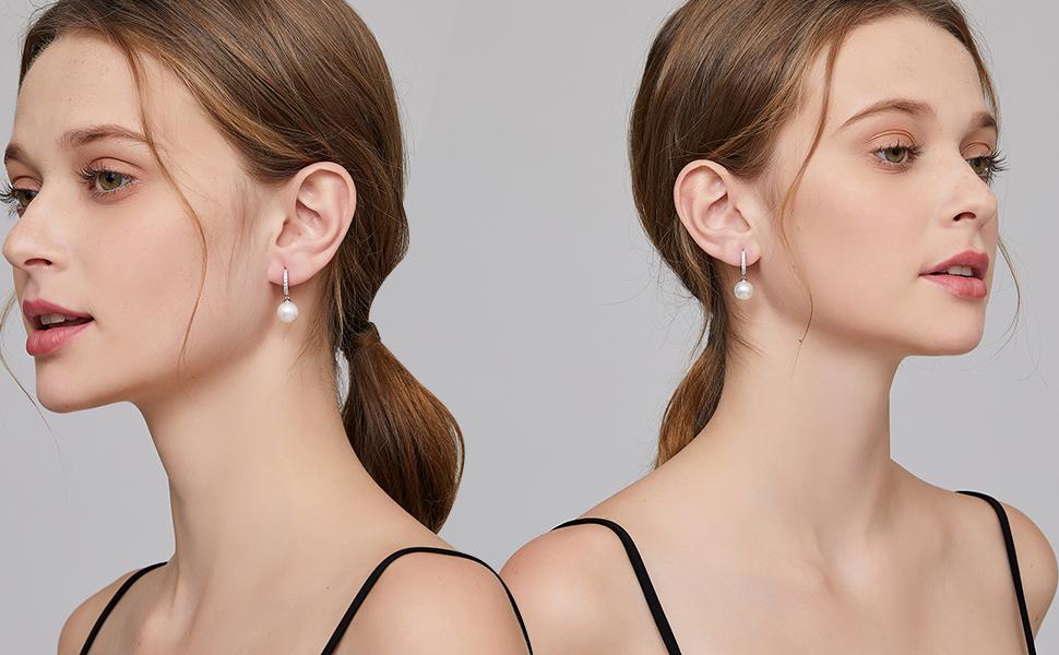 Pearl Earrings Pearl Earrings Sterling Silver Pearl Dangle Earrings