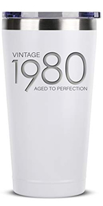1980 40th Birthday Gifts for Women Men - 16 oz White Insulated Stainless Steel Tumbler w/Lid