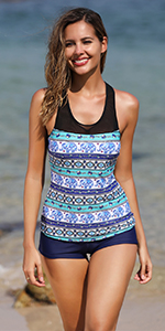 Racerback Tankini Swimsuit with Shorts Two Piece Athletic Bathing Suit for Women