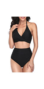 High Waisted Bikini Tummy Control Halter Swimsuits