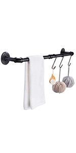 Pipe Black Towel Bar