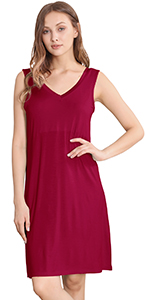 Women's Bamboo Sleeveless Nightgowns Soft Pajamas Sleep Dress V Neck Sleepshirt