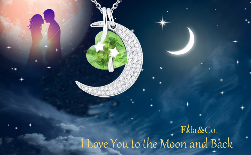August birthstone necklace for women green peridot i love you to the moon and back necklace