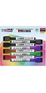 Think2Master 8 Color Magnetic Dry Erase Markers