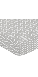 Grey and White Boho Herringbone Arrow Unisex Boy or Girl Baby or Toddler Nursery Fitted Crib Sheet