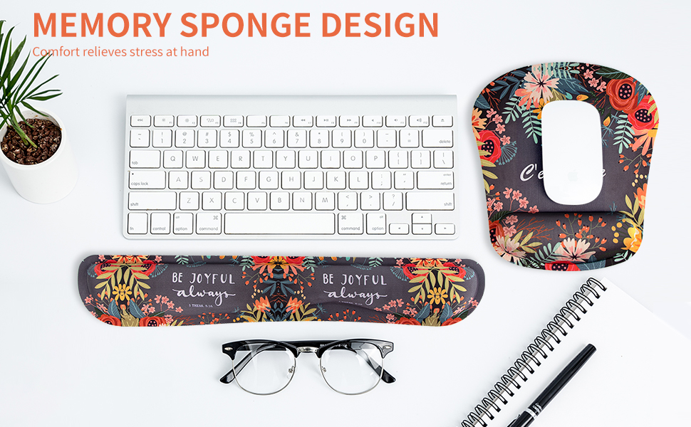 MEMORY FOAM WRIST REST SUPPORT MOUSE PAD & KEYBOARD WRIST PAD SET