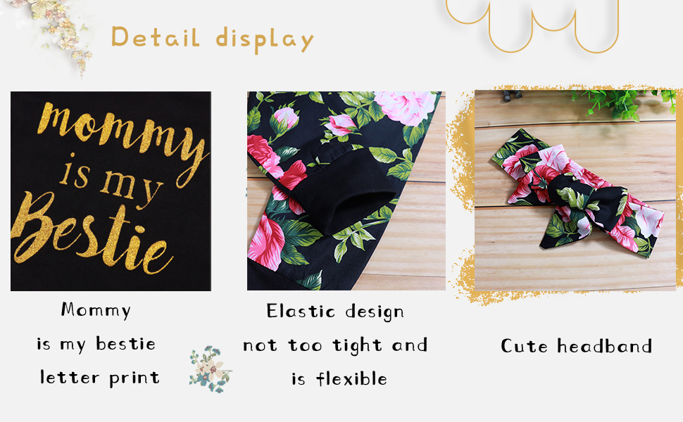 Infant Baby Girl Clothes Mommy is My Bestie Black Long Sleeve Romper +Floral Pants Set