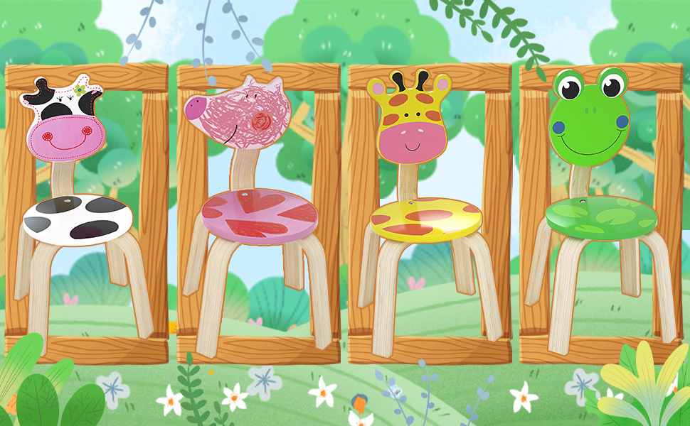Furniture Set for Toddlers Kids Boys Girls Nursery iPlay Kindergarten Natural Hardwood Frog /& Cow Animal Children Chairs Preschool Stackable for Playroom iLearn 2 PCS Wooden Kids Chair Sets