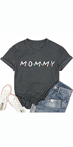 Mommy T Shirt for Women Mom Life Shirt Casual Short Sleeve Mama Gift Tees Tops