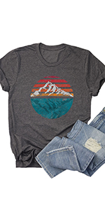 Women Sunrise Sunset T-Shirt Funny Graphic Casual Short Sleeve Tee Nature Travel Shirt Tops