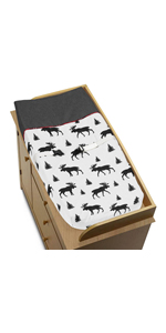 Grey, Black and Red Woodland Plaid and Moose Changing Pad Cover for Rustic Patch Collection
