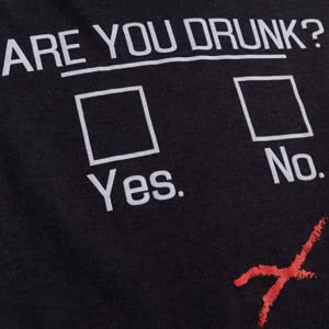 """are you drunk with check boxes and red x outside of """"no"""" checkbox women's black v-neck t-shirt"""