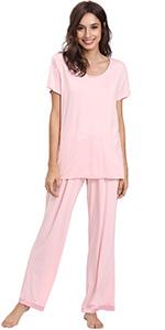 short sleeve pajamas long pants pajama set bamboo rayon sleepwear thermal pj sleep shirt loungewear