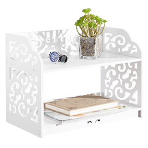 2 tier decorative white shelf with decorative items