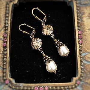 Golden Shadow crystal earrings wedding