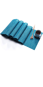PVC Table Runner Blue  Wipe Clean Table Runner for Dining Kichen Table