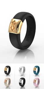 Black & Gold RinFit Silicone Rings Women