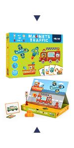 56 Pcs Magnetic Traffic Puzzles